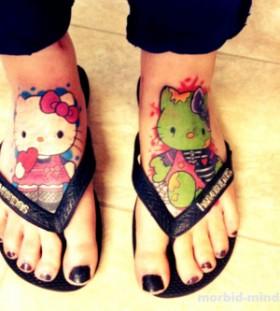 Incredible hello kitty foot tattoo