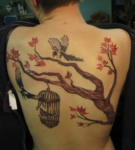 Incredible japanese maple tree back tattoo