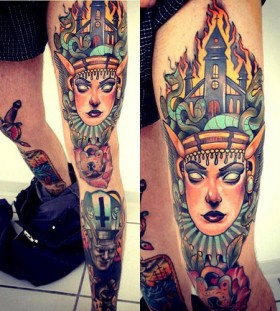 Incredible leg tattoo by Alex Dorfler