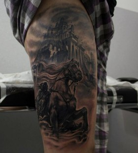 Incredible leg tattoo by Riccardo Cassese