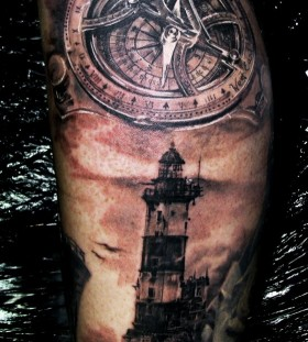 Incredible lighthouse tattoo design