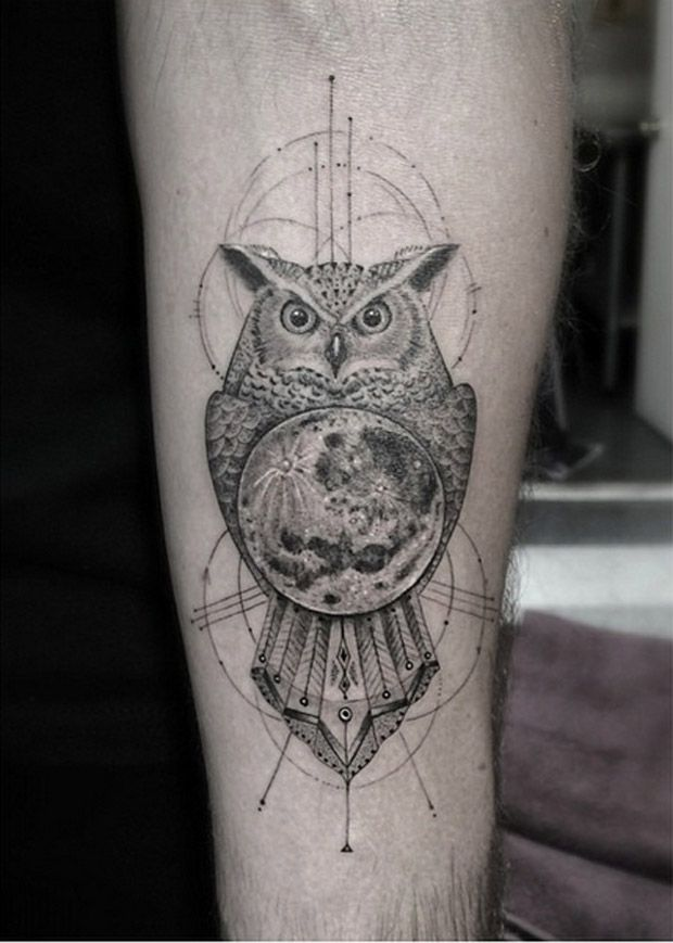 Incredible owl tattoo by Dr Woo