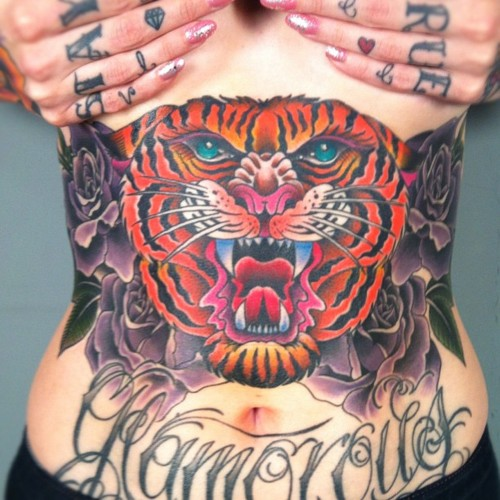 Incredible tiger stomach tattoo