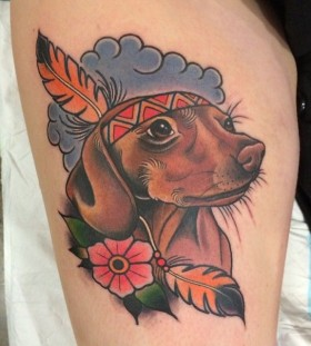 Indian dog tattoo by Clare Hampshire