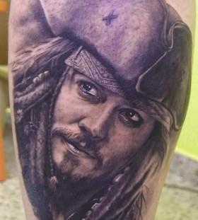 Jack Sparrow portrait tattoo by Xavier Garcia Boix