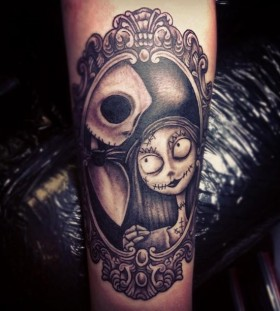 Jack and Sally frame tattoo