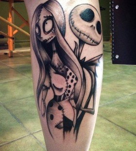 Jack and Sally leg tattoo