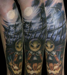 Jack skelington and jack o'lantern tattoo