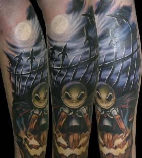 Jack skelington and jack o'lantern tattoo