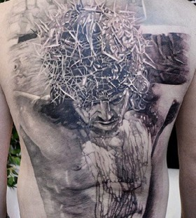 Jesus back tattoo by Elvin Yong