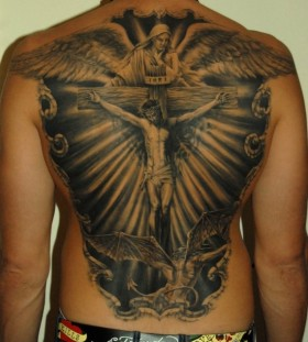 Jesus back tattoo by James Tattooart