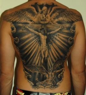 Jesus back tattoo by James Tattooart