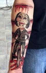 Jigsaw doll arm tattoo