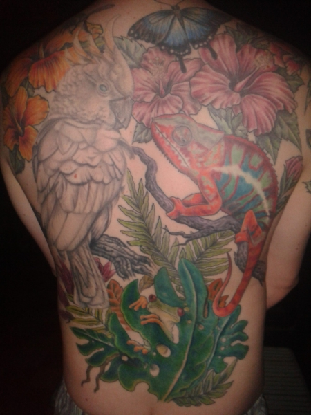 Jungle animals back tattoo
