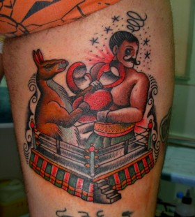 Kangaroo boxing match tattoo