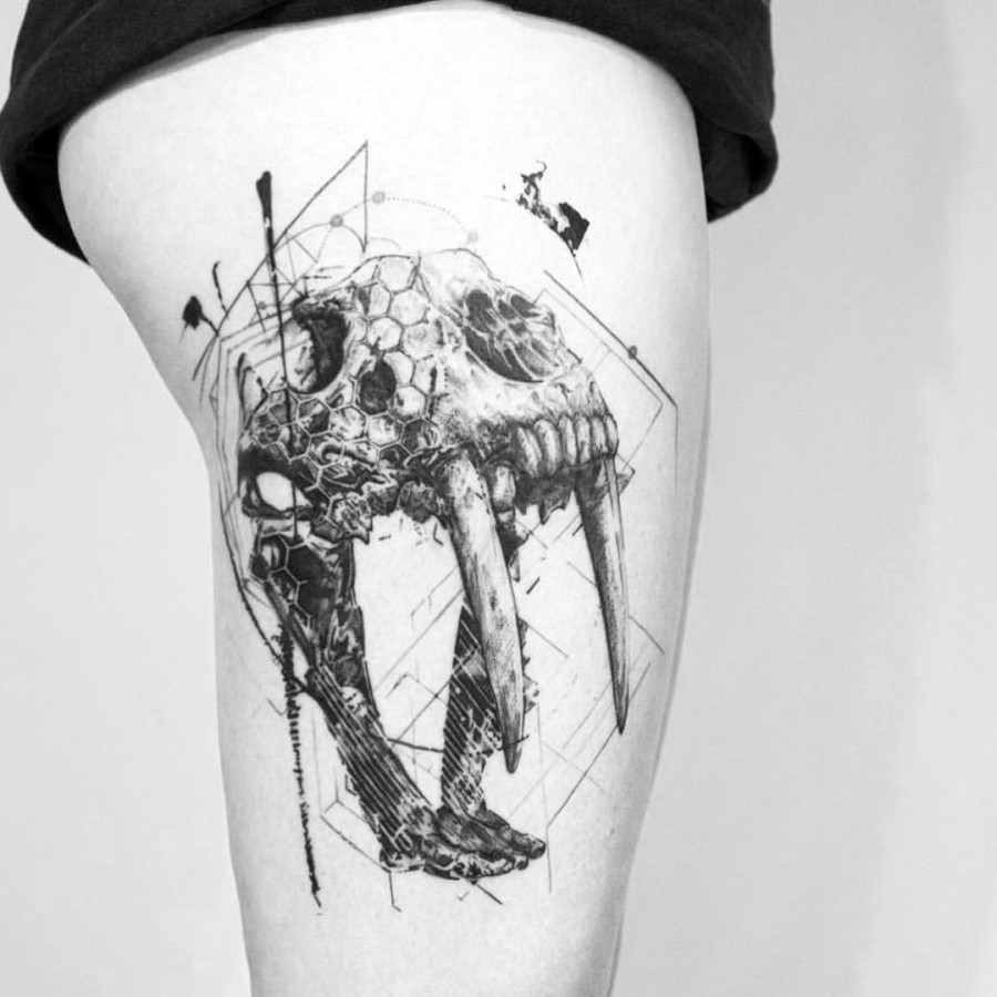 Blackwork Thigh Tattoo