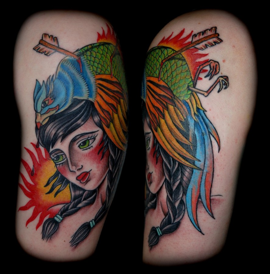 Killed pheasant and girl tattoo
