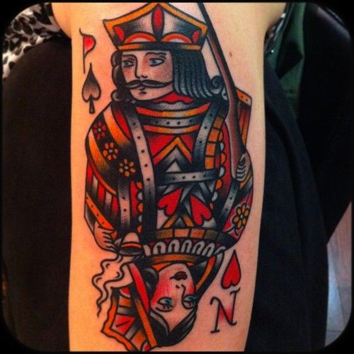 King and queen card tattoo by Nick Oaks