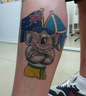 Koala and flags tattoo