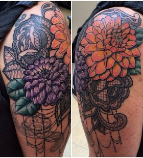 Lace and dahlias arm tattoo