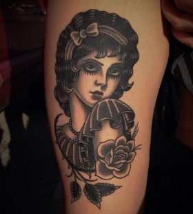 Lady in a dress tattoo