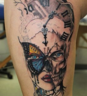 Lady skull clock tattoo