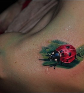 Ladybug on a leaf shoulder tattoo
