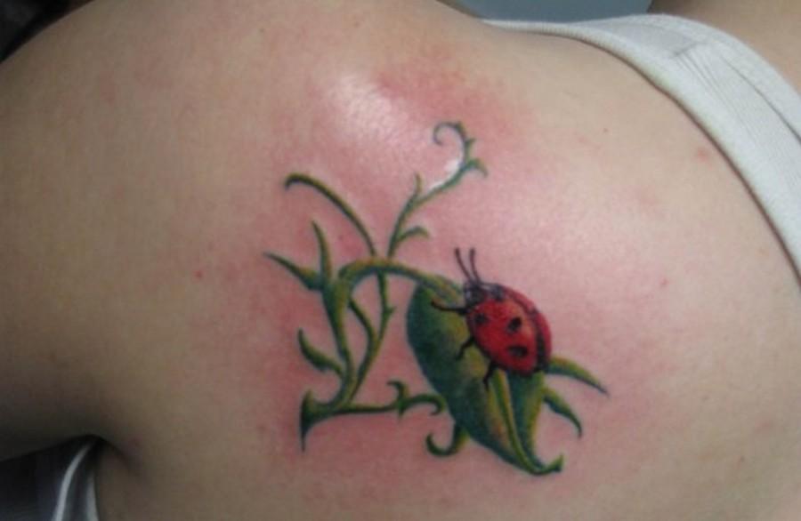 Ladybug on a leaf tattoo