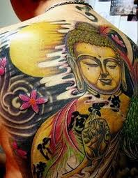 Large buddha back tattoo