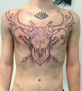 Large deer's head chest tattoo