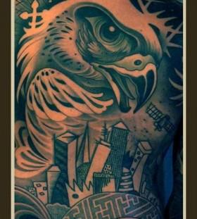 Large eagle back tattoo by Lars Uwe Jensen