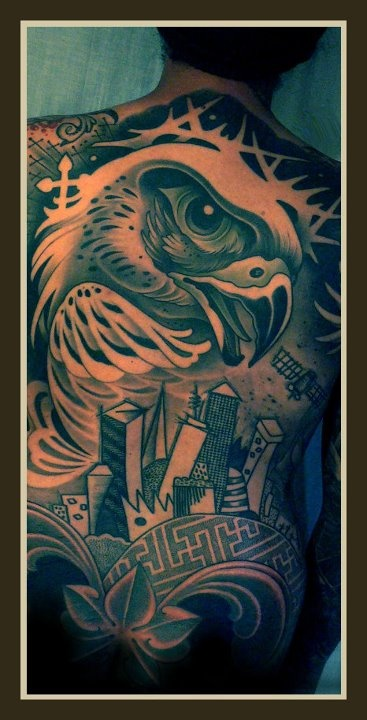 Large eagle back tattoo by Lars Uwe Jensen