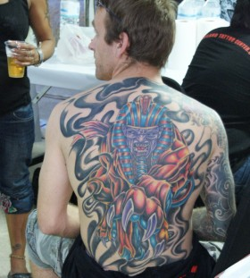 Large egyptian god back tattoo