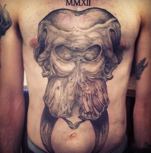 Large elephant skull tattoo by Rachel Hauer