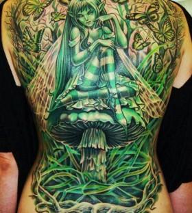 Large green fairy on mushroom tattoo