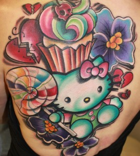 Large hello kitty back tattoo