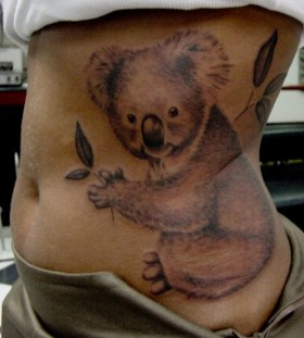 Large koala side tattoo