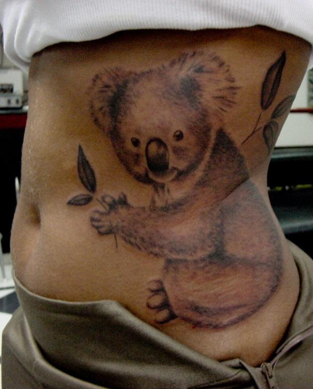 Large koala side tattoo