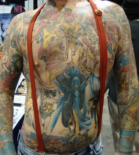 Large marvel comics theme tattoo