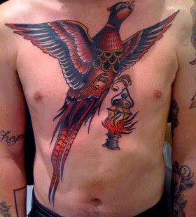 Large pheasant chest tattoo
