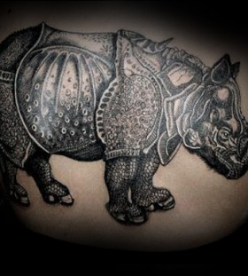 Large rhino back tattoo