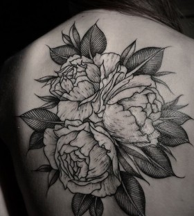 Large roses back tattoo by Thomas Cardiff
