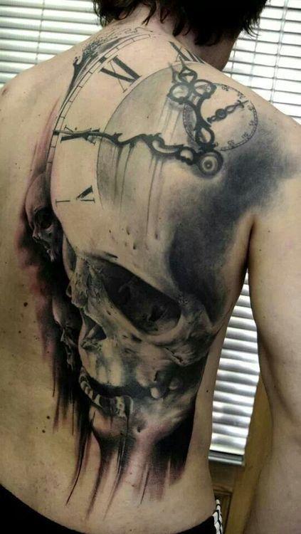 Large skull clock back tattoo