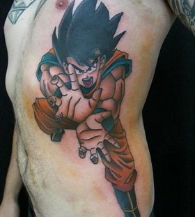 Large songoku side tattoo