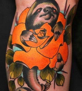 Lazy sloth tattoo