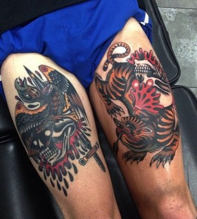 Leg tattoos of skulls and animals by James McKenna