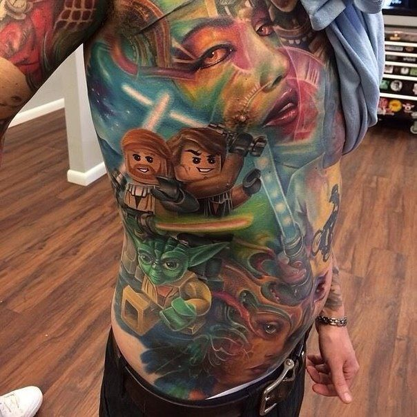 Lego characters tattoo by Kyle Cotterman
