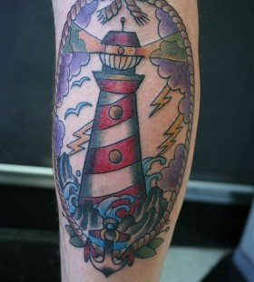 Lighthouse and lightning tattoo