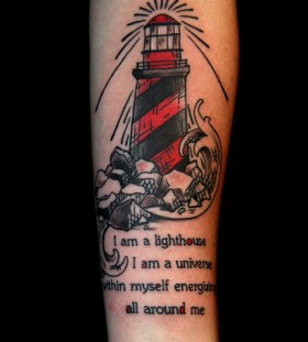 Lighthouse and quote tattoo