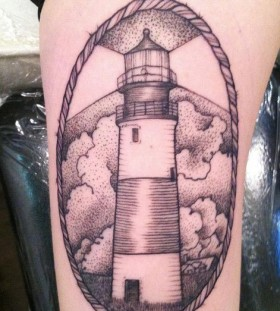 Lighthouse frame tattoo by Rachel Hauer